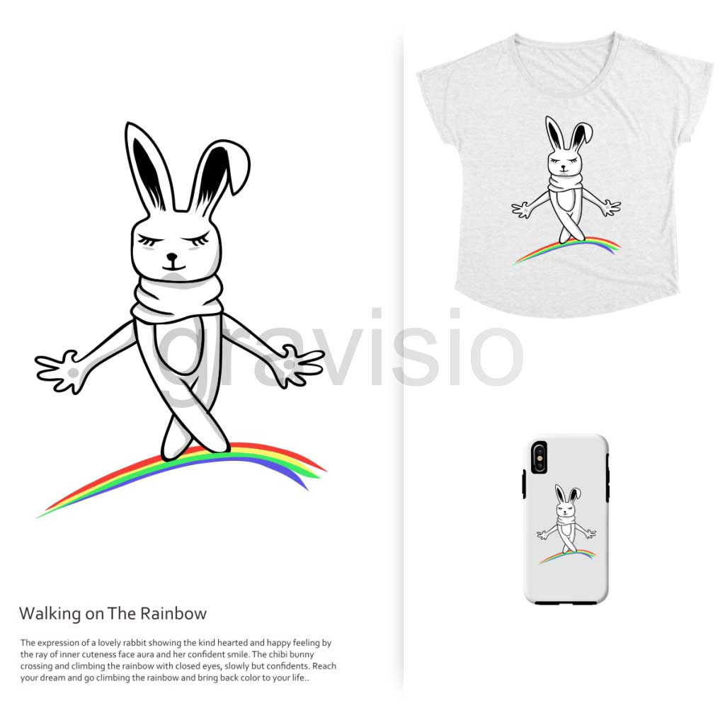 Illustration for merhandise and pod – walking on the rainbow